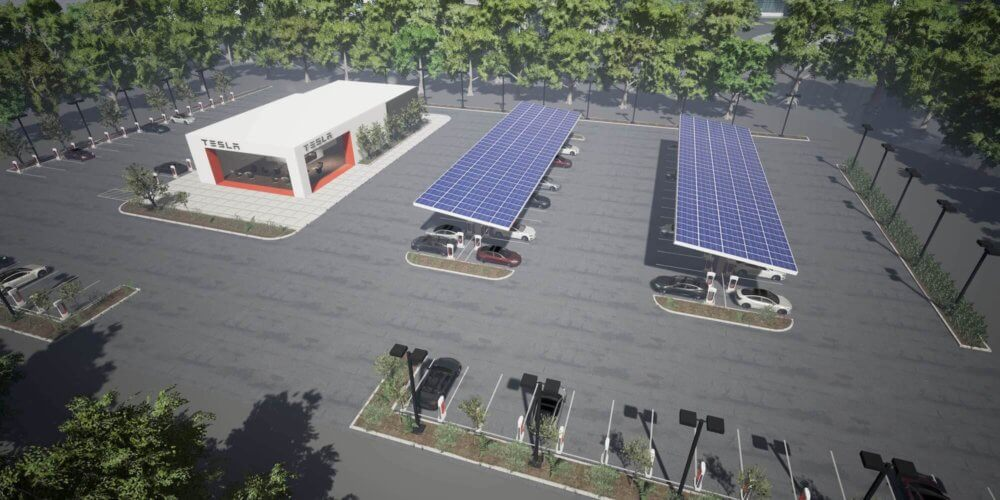tesla solar supercharger